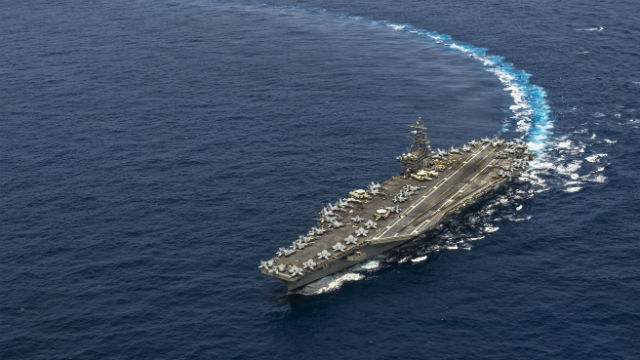 The USS Ronald Reagan in the Pacific on its way to Japan. Navy photo