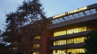 """The Union-Tribune building in Mission Valley in a photo from the """"About Us"""" page of the newspaper's website."""