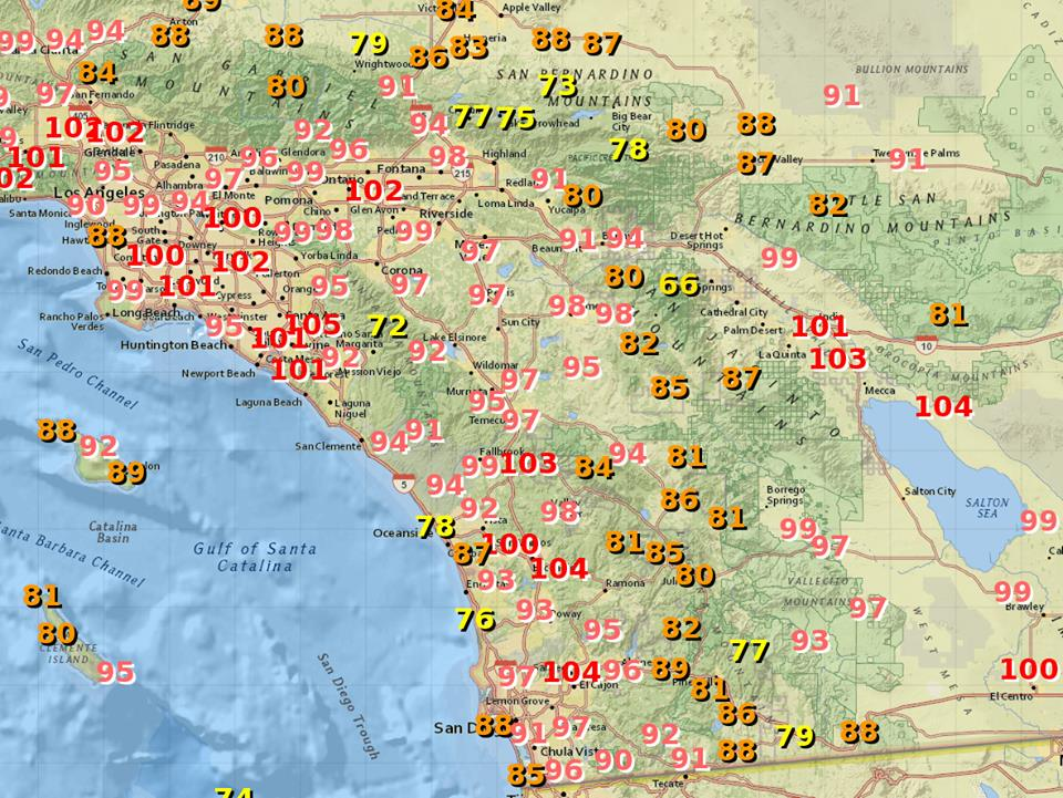 Record heat set throughout the county as a early fall heat wave swept through. Image courtesy of the NWS