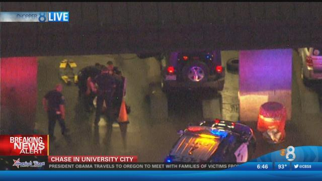 A car pursuit suspect was finally apprehended in UTC. Photo courtesy of News 8