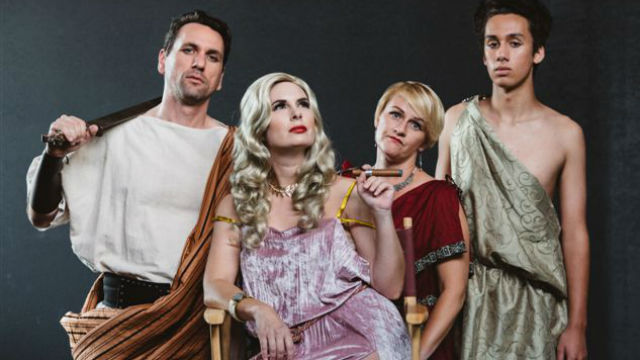 "The cast of ""Amazons and Their Men"" at Diversionary Theatre."
