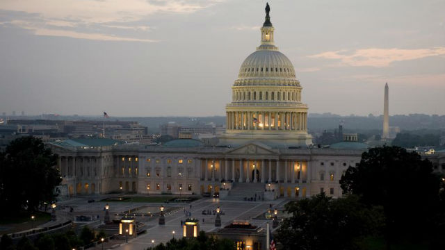The U.S. Capitol at dusk. Photo by the Architect via Wikimedia Commons