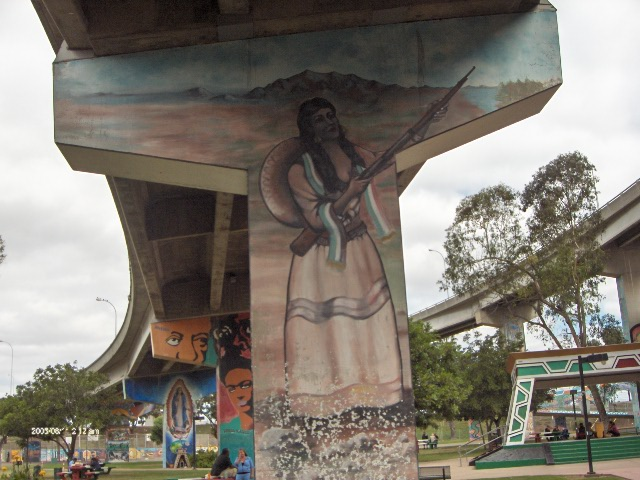 A mural from Chicano Park, Barrio Logan, San Diego, California, USA. Photo by Smedpull (Own work) [Public domain], via Wikimedia Commons