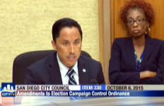 Todd Gloria speaking on the need for the referendum reform at the City Council Meeting on Tuesday. Photo courtesy of CityTV