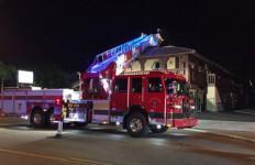 A fire truck outside the Hacienda Motel. Courtesy Escondido Fire Department