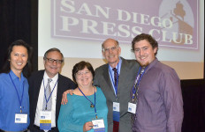 Times of San Diego staff members (from left) Alexander Nguyen, Chris Jennewein, Chris Stone, Ken Stone and Ryan Posner. Photo by Lori Streifler