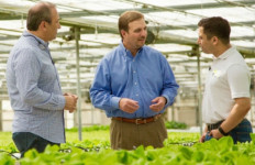 Go Green Agriculture Founder and CEO Pierre Sleiman, Jr. (right) with Garden Fresh CEO John Morberg and Sleiman's father, Pierre Sleiman at Go Green's hydroponic farm in Encinitas.