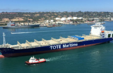 The natural gas-powered container ship Isla Bella off Pt. Loma during sea trials in August. Courtesy NASSO