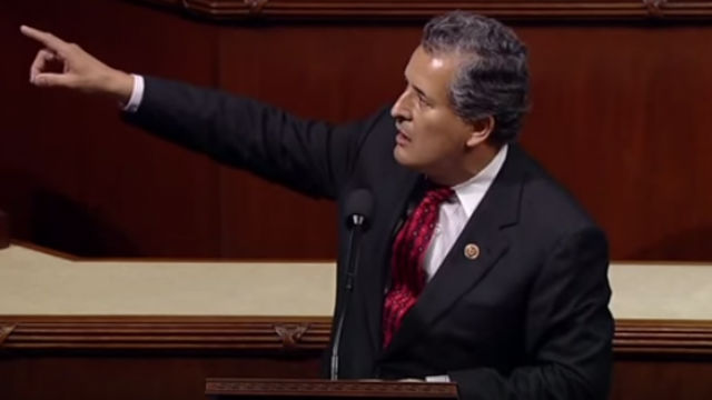 Juan Vargas speaks on the floor of the House of Representatives. Image from official video