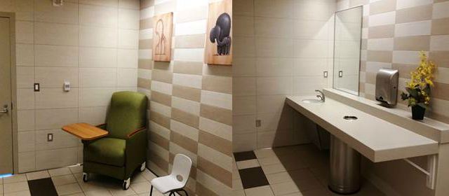 Two views of one of the new lactation rooms at San Diego International Airport.