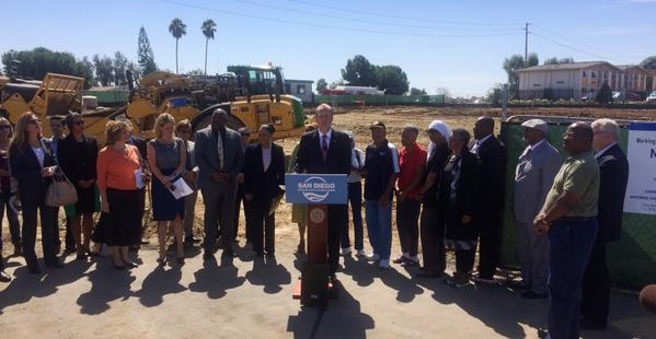 Mayor Kevin Faulconer breaking ground for the new Skyline Hills Library. Photo courtesy of the office of Mayor