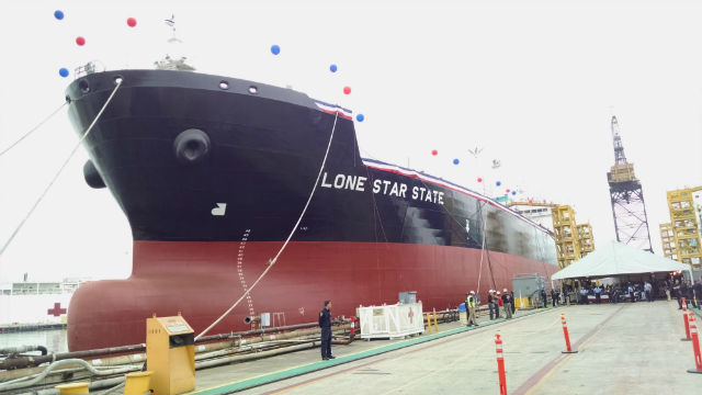 The Loan Star State floats at the shipyard just before her christening. Photo by Chris Jennewein