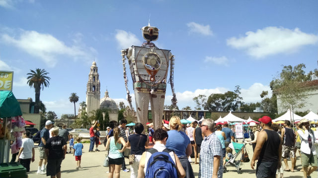 A robot towers over the crowds on Plaza de Panama at Makers Faire. Photo by Chris Jennewein