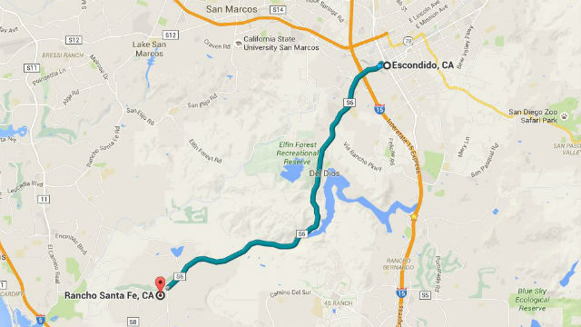 A Google Map shows the 22-minute trip from Escondido to Rancho Santa Fe via the 508 bus.