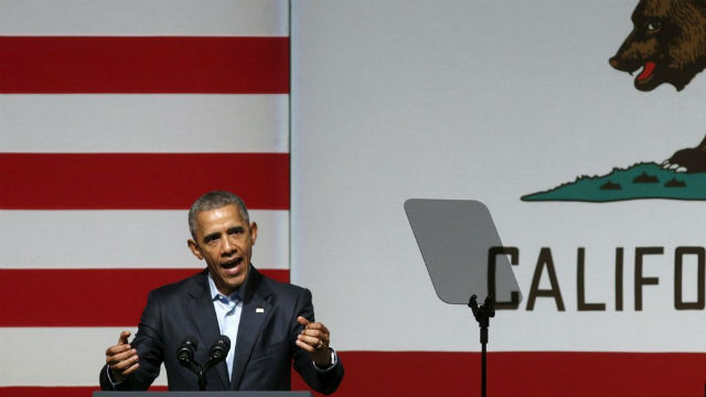 President Obama at at Democratic Party fundraiser in San Diego on Saturday. REUTERS/Kevin Lamarque