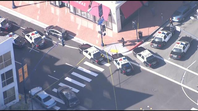 One person was hurt in an officer-involved shooting in the Gaslamp District. Photo courtesy of News 8