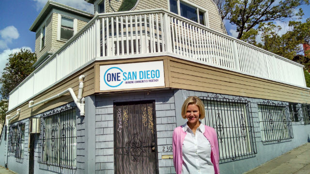 Katherine Faulconer in front of One San Diego's office in Golden Hill. Photo by Chris Jenenwein