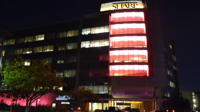 Sharp Memorial Hospital turns pink at night. Courtesy Sharp