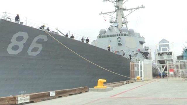 The USS Shoup docked at the Broadway Pier in downtown San Diego on Friday. Image from Navy video