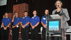 San Diego Councilwoman Sherri Lightner presented a awards to a Ramona High school team that won a cyber-security challenge. Photo by Ken Stone