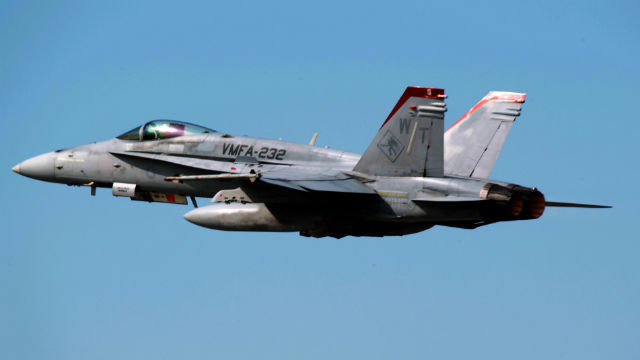 An F/A-18 Hornet from Marine Fighter Attack Squadron 232 based at Miramar. Marine Corps photo