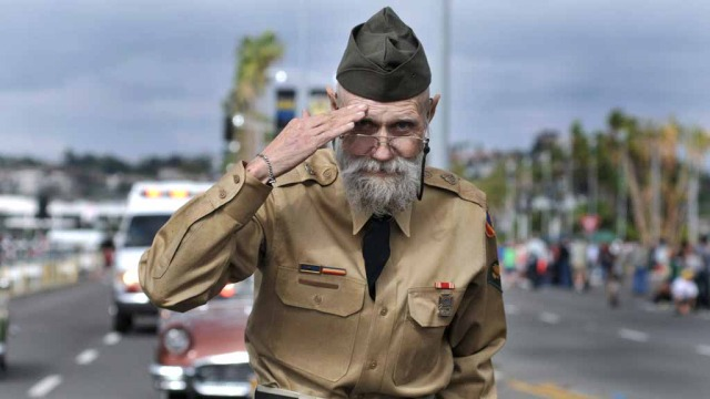 First-place portrait photo shows Richard Diestel saluting during 2014 San Diego Veterans Day Parade. Photo by Chris Stone