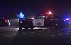 A California Highway Patrol officer at the scene of the accident. Courtesy of OnScene.TV