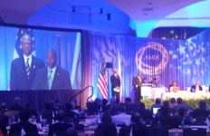 On screen, Willie Banks (left) and Vincent Mudd shown during ANOC General Assembly where San Diego was confirmed as host of 2017 World Beach Games. Photo via Twitter