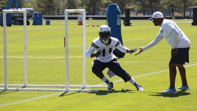 San Diego Chargers wide receiver Stevie Johnson runs through drills in the team's training camp. Photo courtesy of San Diego Chargers Facebook.