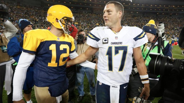 Philip River and Aaron Rodgers after the Chargers' 27-20 loss to the Packers Sunday Oct. 18. Courtesy of San Diego Chargers Twitter