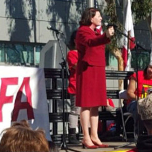 Atkins at the rally in Long Beach.