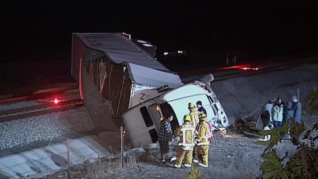 Wrecked big rig lying over Coaster tracks near San Onofre. Courtesy OnScene.TV