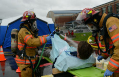 Firefighters decontaminate victims of a simulated bioterrorism attack in Oregon. Courtesy  Oregon Military Department Public Affairs