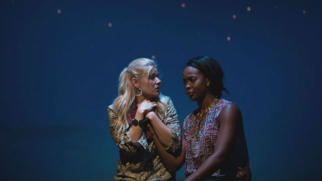 "Rin Ehlers Sheldon (left) and Bri Giger in ""Bright Half Life"" at Diversionary Theatre."
