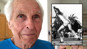 Bud Held, Olympian and world record setter. Photos by Ken Stone and (inset) nemethjavelins.hu