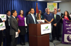Councilmen David Alvarez (c) and Todd Gloria (l) at a news conference in support of climate change proposal being presented to to the San Diego City Council Environment Committee. Photo courtesy of the David Alvarez's office