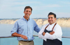 Duke's La Jolla General Manager Shaughn Helliar and Executive Chef Anthony Sinsay outside the restaurant.