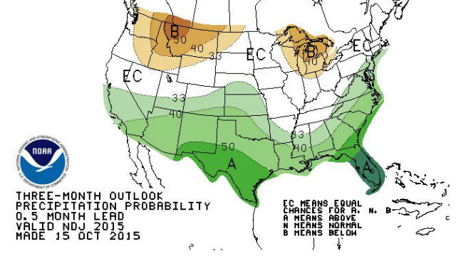 Three-month precipitation forecast from the Climate Prediction Center shows above-average prediction for Southern California.