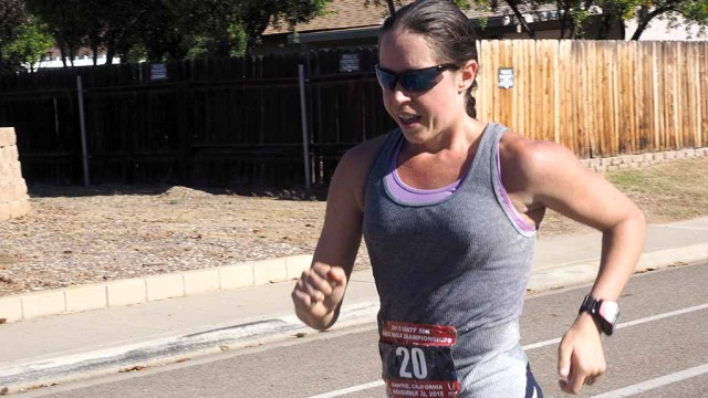 Erin Taylor-Talcott endures hot weather in Sunday's USATF National Race Walking Championships in Santee. Photo by Calvin Lau