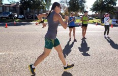 Erin Taylor-Talcott walks past onlookers at USATF National Race Walk Championships in Santee. Photo by Calvin Lau