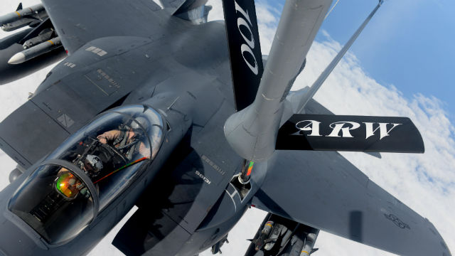 An F-15E Strike Eagle assigned to the anti-ISIS operation refuels over the Mediterranean Sea. Air Force photo