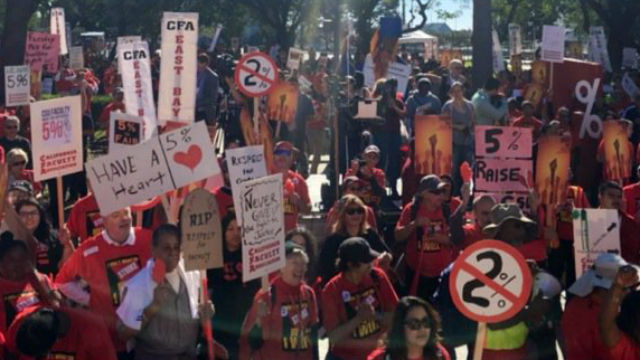 The rally outside the California State University system board meeting in Long Beach. Courtesy Toni Atkins Twitter
