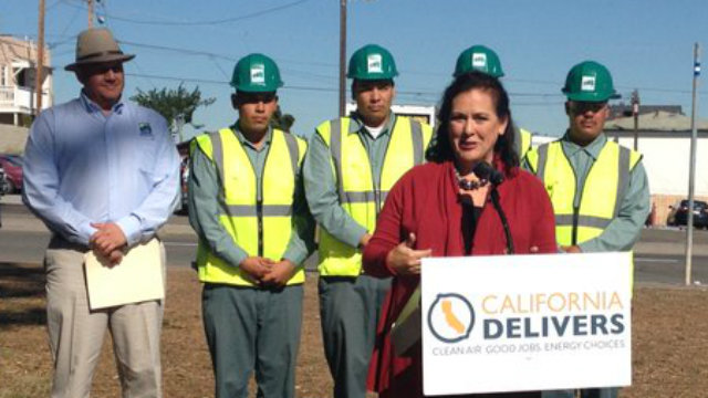 Lorena Gonzalez announcing the plan to plant trees in urban areas in Chula Vista and San Diego. Photo courtesy of California Delivers