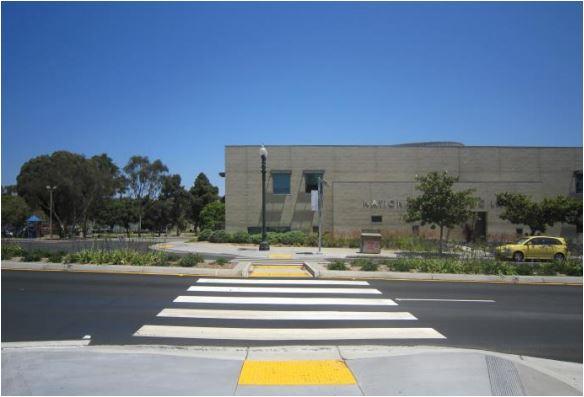 A pedestrian-friendly, mid-block crosswalk in National City. Courtesy Circulate San Diego