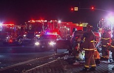 Firefighters at the scene of the accident work to extricate trapped passengers. Photo courtesy OnScene.TV