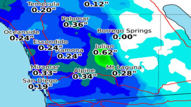 National Weather Service map shows forecast rain totals on Monday and Tuesday.