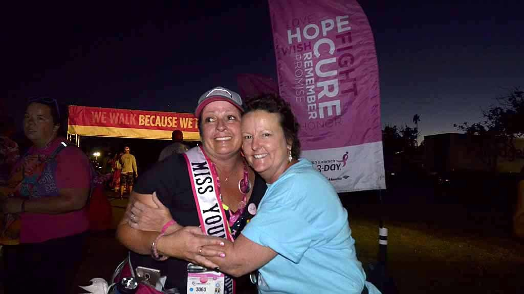 Breast cancer survivors Dana Shiring of Carlsbad and Cynthia Halvax of San Diego were diagnosed on the same day. Photo by Chris Stone