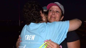 Breast cancer survivors Dana Shiring and Cynthia Halvax share a special bond. Photo by Chris Stone