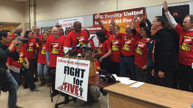 Faculty union members cheer strike vote in Sacramento. Courtesy California Faculty Association