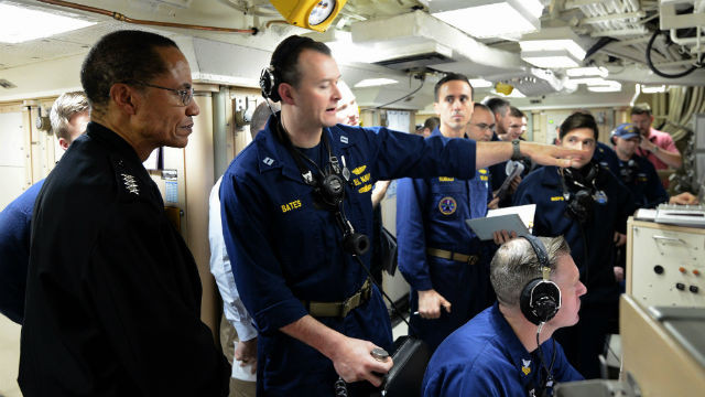 Adm. Cecil D. Haney (left) observes the Navy's crew's launch of a Trident II D5. Navy photo
